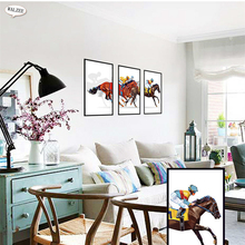 Horse Racing Sports Wall Stickers Creative Fake Frame Horse Cowboy Restaurant Bedroom Living Room Home Decoration Decals Mural