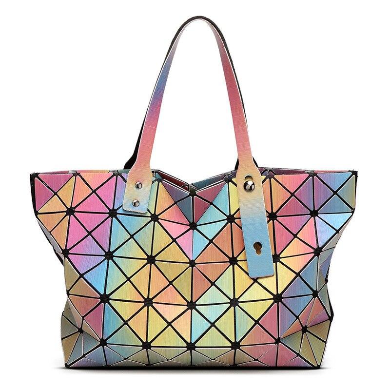 2017 Guangzhou Women Luminous sac baobao Bag Diamond Tote Geometry Quilted Shoulder Bags Laser Plain Folding Handbags bolso<br>