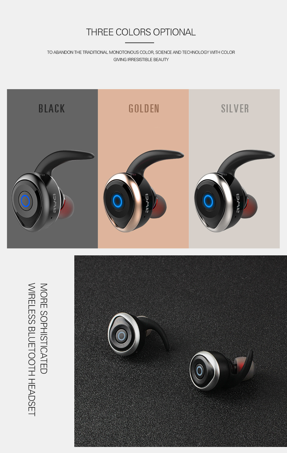 2017 Awei T1 bluetooth earphone true wireless Stereo headset support TWS, smart noise reduction, waterproof, IOS power display