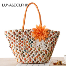 Luna&Dolphin Summer Designer Shopping Tote Beach Bag Knitting Handbags Natural Corn Husk Shoulder Bag Woven Travel Bags(China)