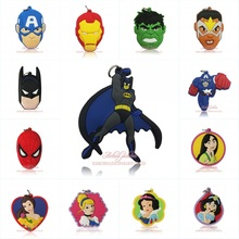 1pcs Avengers/Batman/Princess/Spongebob Cartoon PVC Soft Pendants fit Key Chain Kids Gifts Party Decorations Party Favor(China)