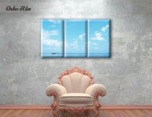 Print poster canvas wall art blue sky sea view decorative art oil painting wall modular picture living room (no frame) 3pcs