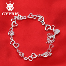 SALE  CYPRIS fashion unique flower heart charm daisy bracelet women wholesale factory price silver plated stamp wholesale hot