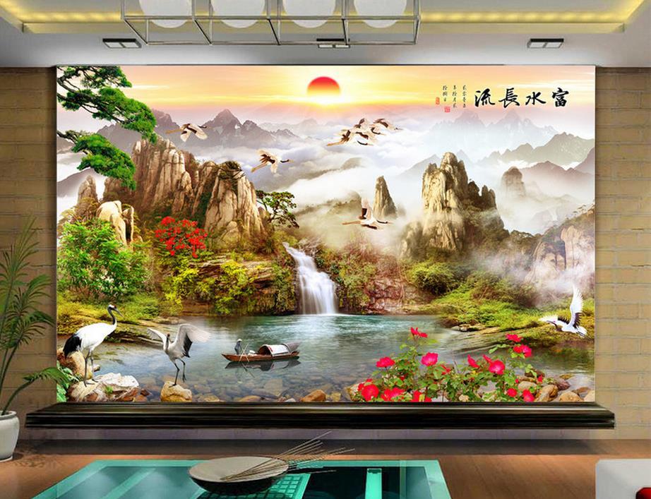 customize wallpaper for walls 3 d wallpaper Water to make money 3d wall murals wallpaper home decor living room<br>