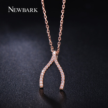 NEWBARK Vintage Wishbone V Shaped Necklaces Pendants Rose Gold Color Necklace Women Micro Paved CZ Jewelry Gifts