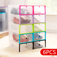6pcs High Quality DIY Transparent Clear Plastic Shoe Boxes Stackable Foldable Organizer Box ,jewelry storage box,Free shipping.