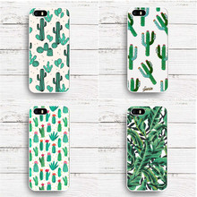 Plants Cactus Banana Leaves Flowers white plastic hardcover Case For iphone SE 5 5S 6 6S 6Plus 7 7Plus Phone Back Cover