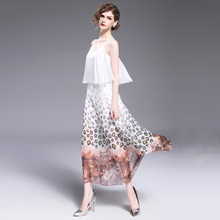 Europe and the United States women's clothing 2017 this year women's fashion boutique chiffon dress dress back cross b750