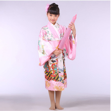 Pink Japanese Baby Girl Kimono Dress With Obi Traditional Yukata Child Stage Performance Dance Dress Kid Cosplay Costume B-070(China)