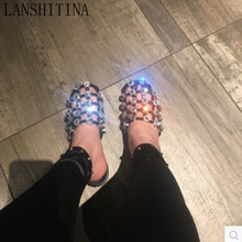 LANSHITINA Fashion Cuts Out Shoes Diamond Studded Sandals Leather Caged Slipper Flat Heel Slide Sandals Slip On Casual Sandals(China)