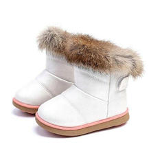 Winter Girls Boots Kids Sonw Boots Children Winter Shoes Warm Fur Plush Waterproof Rubber PU leather Fashion Baby Princess Shoes(China)