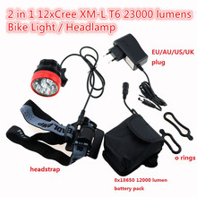 Waterproof Bike Headlamp Headlight 23000 Lumens 12 x Cree XM-L T6 LED Cycling Bicycle Helmet Light + 18650 Battery Pack+Charger