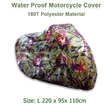 Size L 220 x 95x 110cm Motorcycle Covering Waterproof Scooter Cover UV resistant Heavy Racing Bike Outdoor Cover Camouflage D10