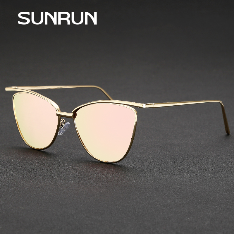 SUNRUN New Fashion Cat Eye Women Sunglasses Brand Designer Glasses Women Vintage Sun glasses Mirror oculos gafas de sol 9068(China (Mainland))