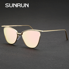 SUNRUN New Fashion Cat Eye Women Sunglasses Brand Designer Glasses Women Vintage Sun glasses Mirror oculos gafas de sol 9068(China)