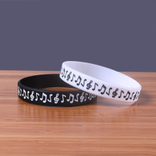 New arrival Music Note fashion silicone bracelet china Black and white available cheap rubber band Free shipping rock wristband(China)