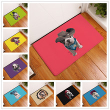 2017 New Cartoon French Bulldog Print Carpets Bathroom Mats Anti-Slip Rugs 40X60 50X80cm.(China)