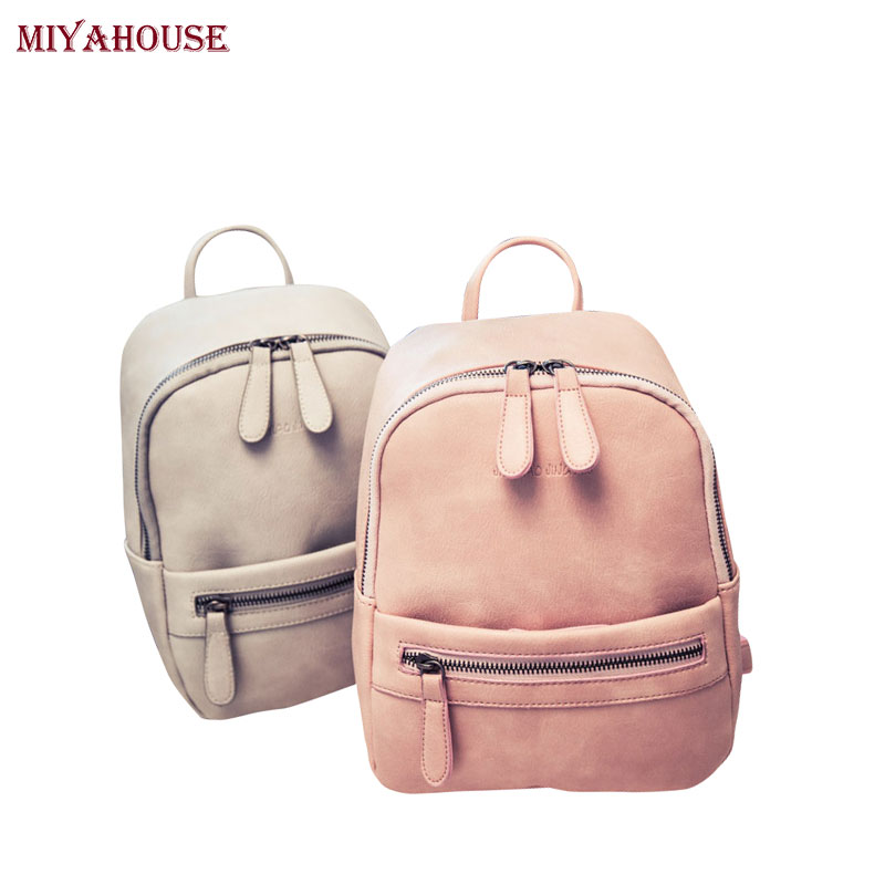 Miyahouse Korea Style Women Backpack Fashion Candy Color Mini Backpacks Ladies Casual PU Leather Backpack Female Small Backpacks<br><br>Aliexpress
