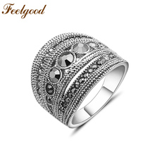 Feelgood Fashion Popular Vintage Jewellery Big Statement Finger Rings With Black Crystal For Women Wedding Party Gift(China)