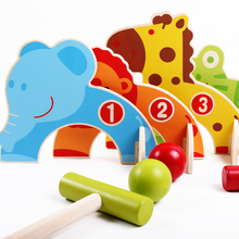 1 Set Wooden Children's Cartoon Baseball Croquet Sports Game Cute Animal Gate Ball Golf Early Educational Baby Kids Toys Gifts