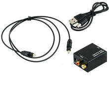 New Digital Adaptor Optic Coaxial L/R RCA Toslink Signal to Analog Audio Converter Adapter with 1M Fiber Cable