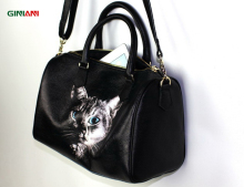 GINIANI Real Cow Leather Women Black Basic Boston Handbags Femal Cool Cat Painting Shoulder Bags(China)
