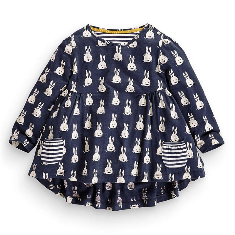 2016 New Spring Autumn 1-6 Years Girls Long Sleeve Blue Rabbit Dress Cotton Elastic Casual Dresses Kids Clothing KF063<br><br>Aliexpress