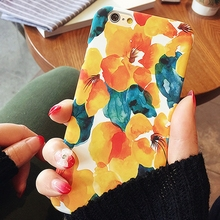 Kerzzil Bright Fresh Orange Flowers Matte Hard PC Case For iPhone 6 6S Plus 5s SE Floral Phone Cover For iPhone 6  6S 5S Back