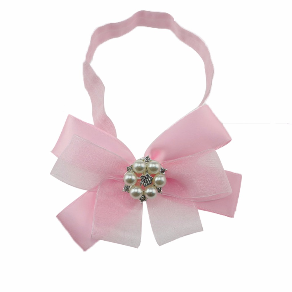 2016 New baby girl ribbon bow with pearl headband lovely baby chiffon bow head band hair accessories<br><br>Aliexpress
