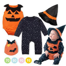 2017 New Hallowmas Dress Infant Baby Boys Girls Romper Fancy Dress Outfit Clothes Fashion Baby Dress 3PCs\set Hat+Clothing+ Vest(China)
