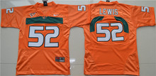 Nike Youth 2016 Miami Hurricanes Ray Lewis 52 College FIce Hockey Jerseys - Orange size S M L XL(China)