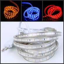 220V 240V SMD 5050 led strip light Power plug warm white/white/RGB 60leds/m waterproof tape rope 1m 5m 10m 15m 20m 50m 100m