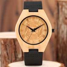 Novelty Men's Wood Watch Pine Tree Bamboo Dial Luxury Cool Leather Sport Analog Wrist Watch Minimalist Nature Wooden Clock Gift(China)