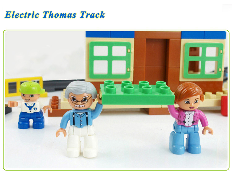 8 110 Pieces Electric Thomas Track Educational Large Particles Assembled Toy Building Blocks For Kids Compatible Legos HM318