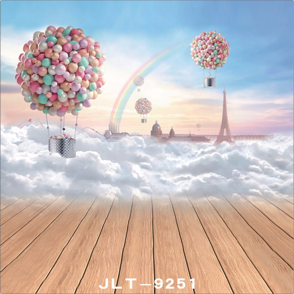 8x8FT Up Air Balloons House Clouds Rainbow Sky Eiffel Tower Custom Photography Backgrounds Studio Backdrops Vinyl 10x10ft 6x6ft<br><br>Aliexpress