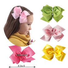"2Pcs/lot Fashion 6"" Large Hair Bows With Clips For Kids Handmade Grosgrain Ribbon Hairbow Barrettes Hair Accessories For Girl"