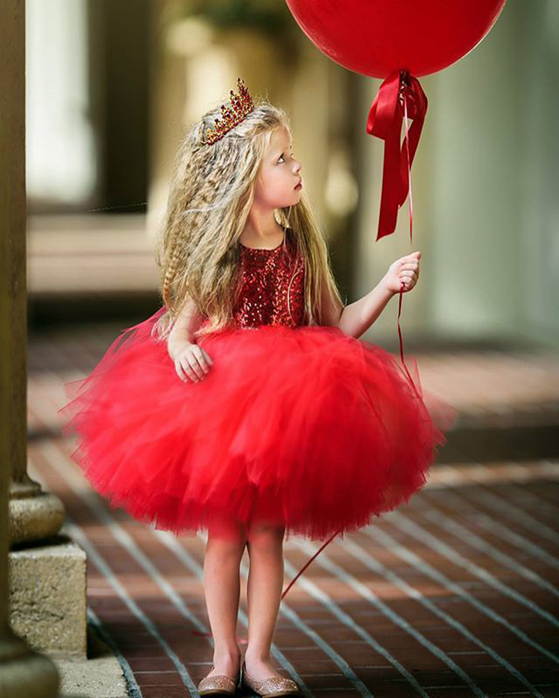 summer 2019 girls dress Sequin sleeveless backless Ball Gown kids princess dresses tutu toddler baby party wedding clothes red