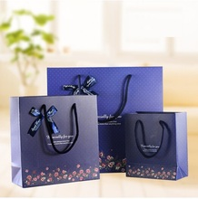 [YYYYAAAA] 1pcs gift paper bag Navy blue bottom small bow gift bag business paper bag