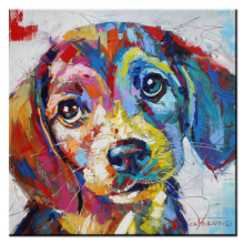 xh361 Cute Animal Dog Graffiti Pop Art Oil Painting Face Portrait Print Wall Painting For Living room No Frame