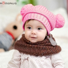 Baby Hats ROMIRUS Modern 2017 Cute Baby Kids Girl Dual Balls Warm Winter Knitted Cap Hat Beanie High Quality Feb16
