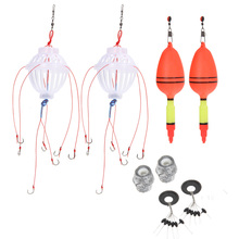 2Pcs Silver Carp Fishing Float Bobber Sea Monster with Carbon Steel Six Strong Explosion Hooks Fishing Tackle Set