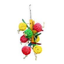 Hot Sale Colorful Birds Toys Pet Parrot Perroquet Cockatiel Parateer Hanging Balls Swing Chew Toy Bird Supplies High Quality