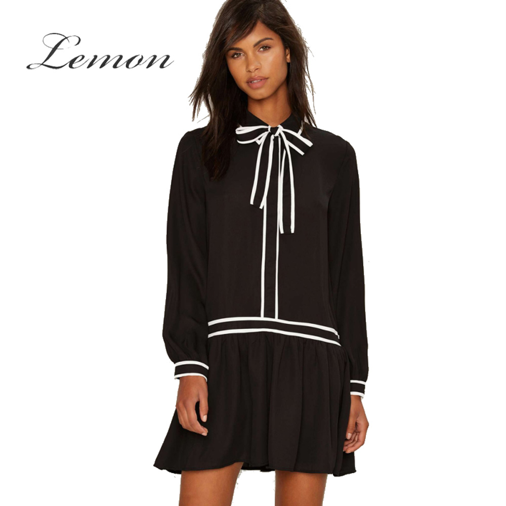 Lemon Color Block Sweet Dress Women Loose Bowknot Chiffon White Contrast Black Round Neck Dress Long Sleeve Basic Dress Female