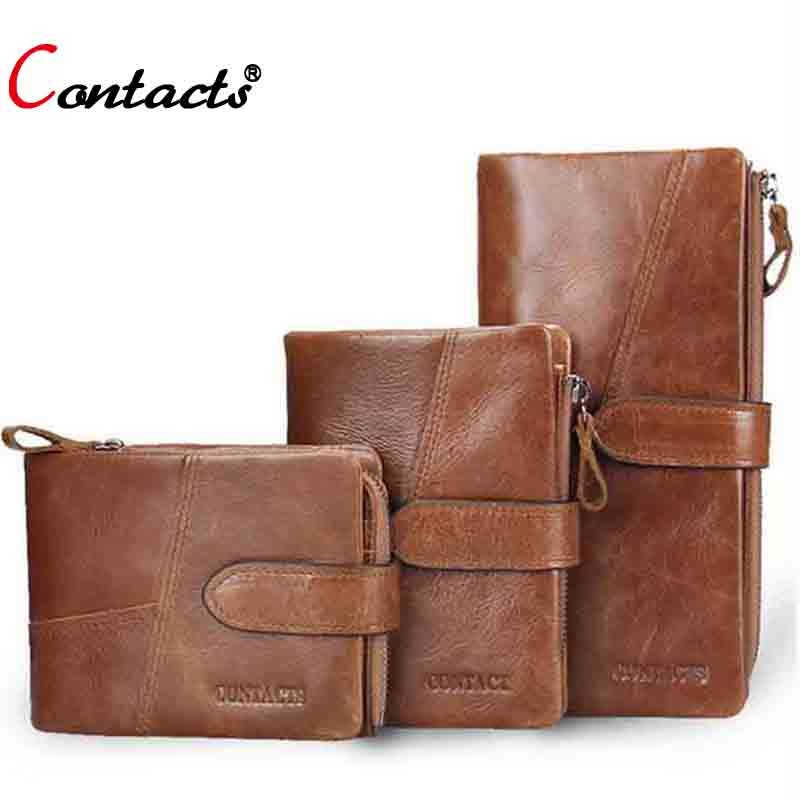 Contacts Genuine leather men wallets Vintage famous brand Purse bag Coin Pockets zipper short and long clutch money clip 2017<br><br>Aliexpress