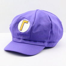 Super Mario Plush Toys Cotton Caps hat Purple waluigi cap Anime Cosplay Halloween Costume Buckle Hats for Adult(China)