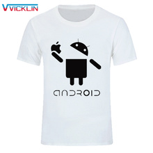 2017 New Fashion Men T Shirts Android Robot Male t-shirt apple humor logo printed funny t shirt short sleeve Round Plus Size(China)