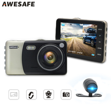 "AWESAFE 4"" Dash Cam Car DVR Camera Dual Lens HD 1080P video Recorded Parking Monitor WDR Motion Detection Auto registrator DVRs(China)"