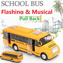 Free Shipping 1:32 Diecast School BUS Toy Vehicles,Alloy Car Toy,Metal Car Toy Model,Musical,Flashing,Pull Back,Doors Openable(China)