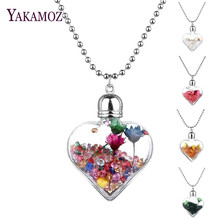 Transparent Heart Glass Bottle  Pendants & Necklaces Jewelry Rhinestone Big Dried Flower Wish Bottle Lovers Long Necklaces 2017