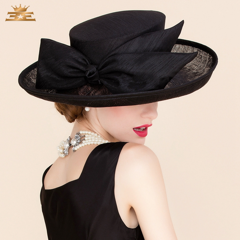 Summer Wedding Black Linen Fedora Hat For Women Large Brimmed Bowknot Dress Kentucky Derby Hats  B-8173